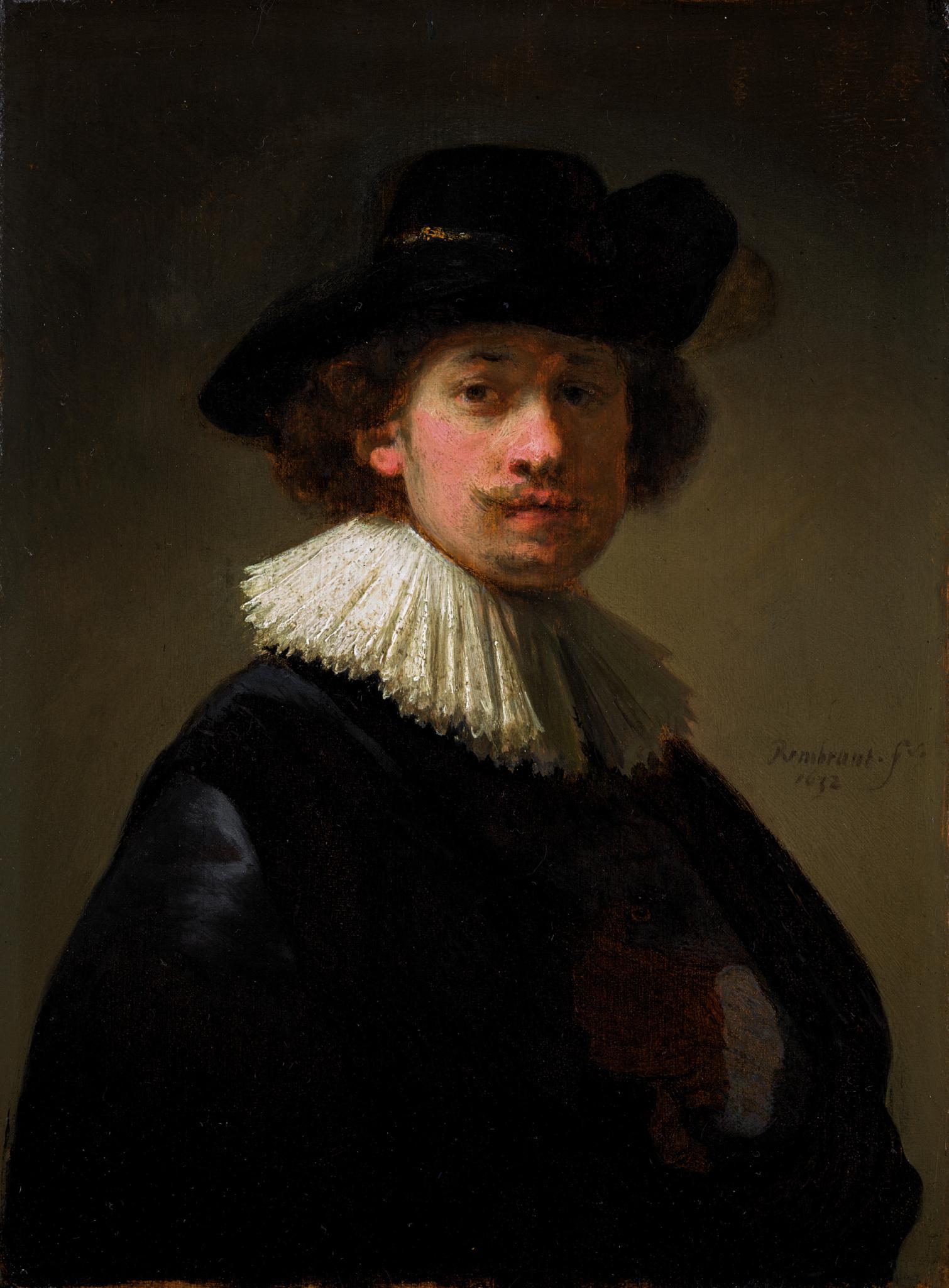Rembrandt-Van-Rijn-Self-portrait-wearing-a-ruff-and-black-hat-1632-est.-£12-16-million-scaled-1510x2048-1