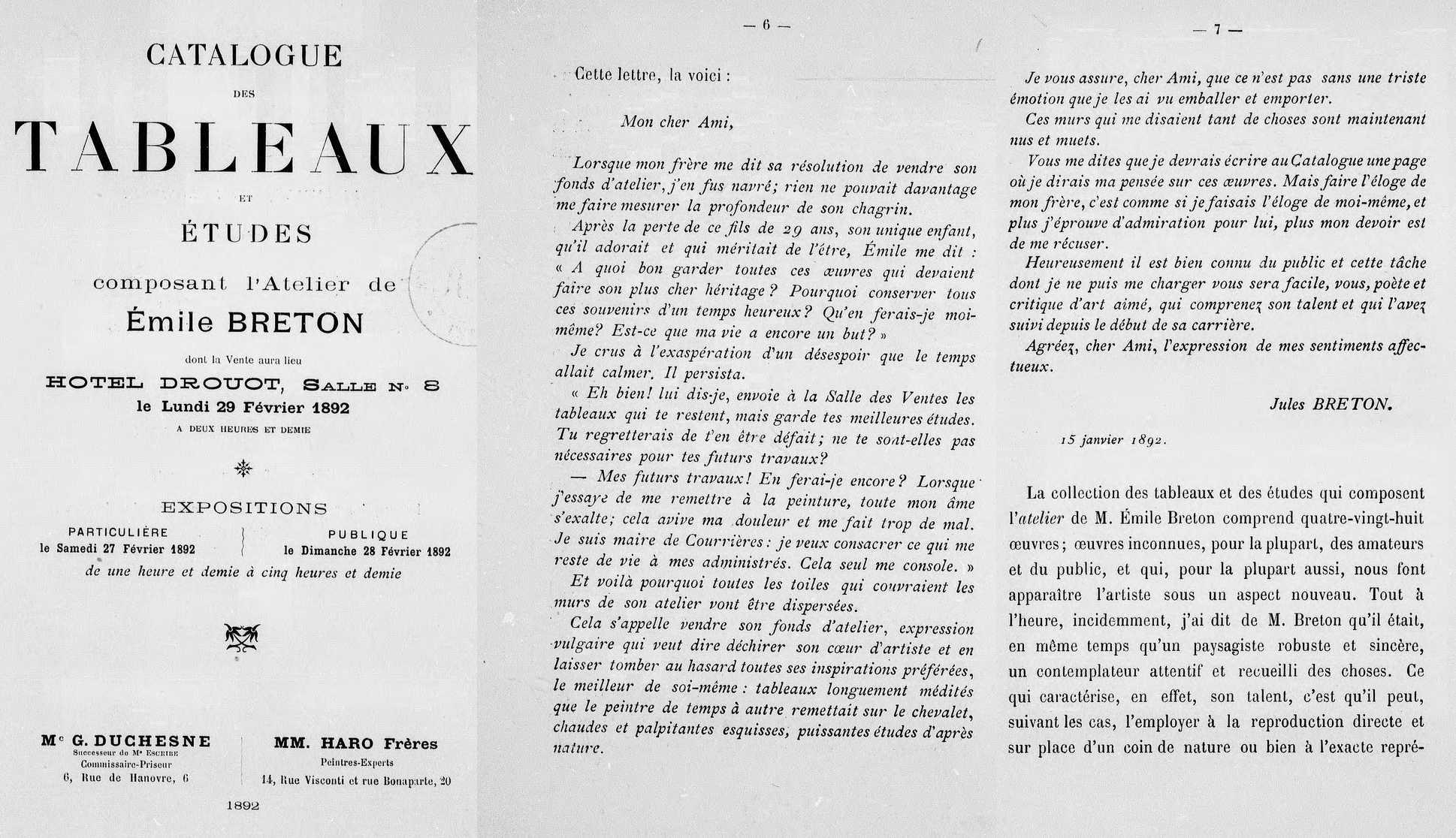 Lettre de Jules Breton à G. Goetschy dans le catalogue de la vente de fond d'atelier d'Emile Breton, 1892. BnF