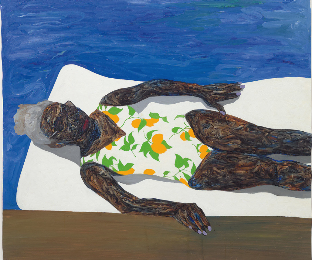 Amoako Boafo, The Lemon Bathing Suit (détail), 2019