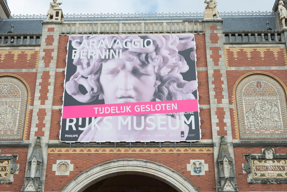Closed Rijksmuseum in Amsterdam, NL