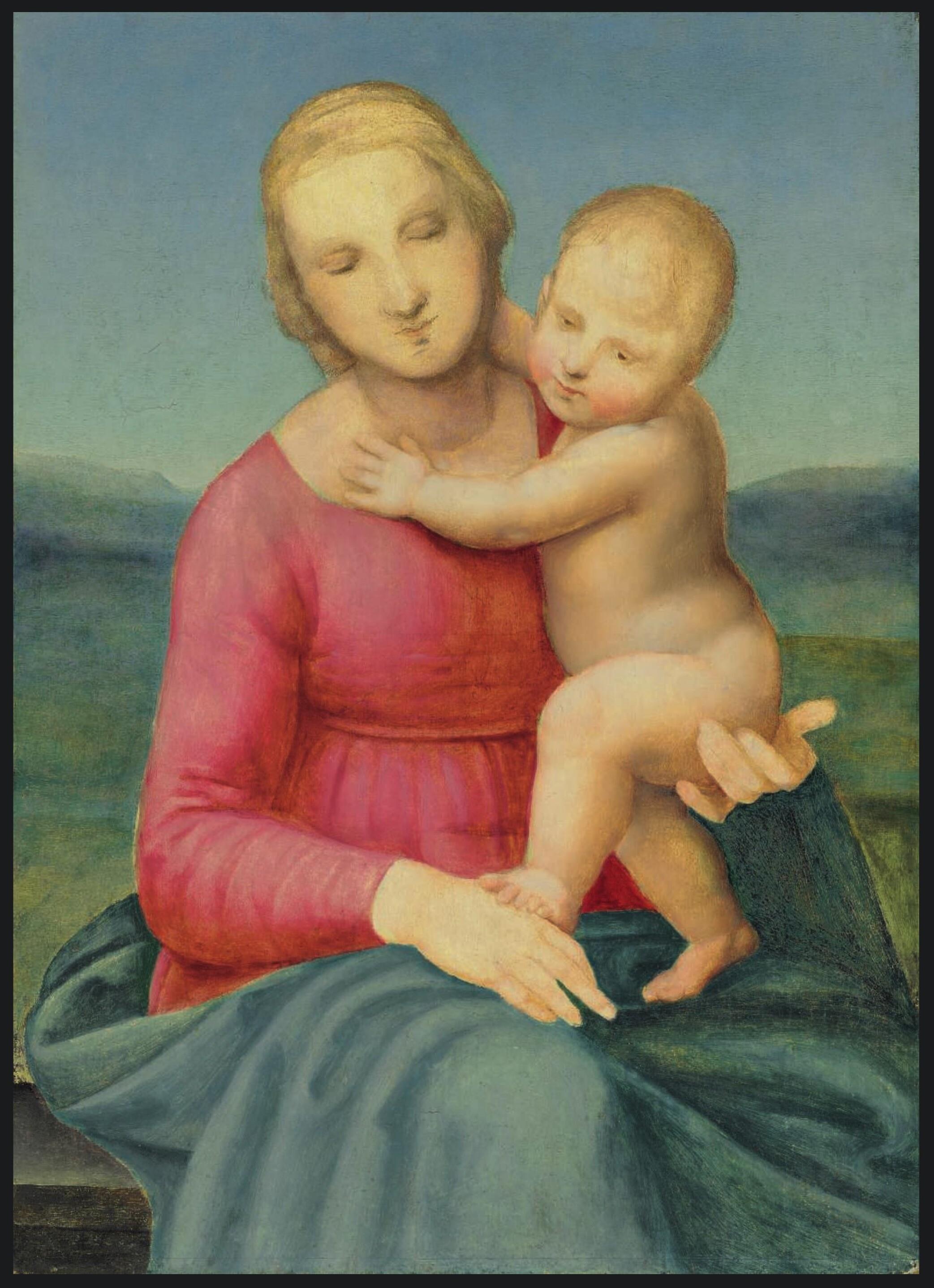 Attribuée à Raphaël ou à un proche associé La Madonne Peruzzi : la Madonne et l'enfant