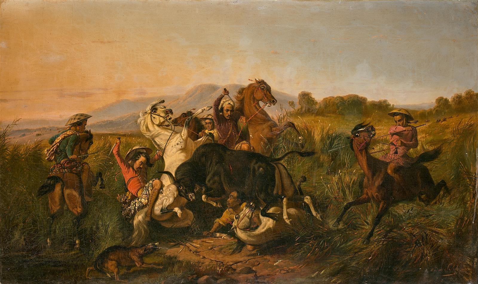 Raden Saleh (1814-1880) La Chasse au taureau sauvage (Banteng) (1855)