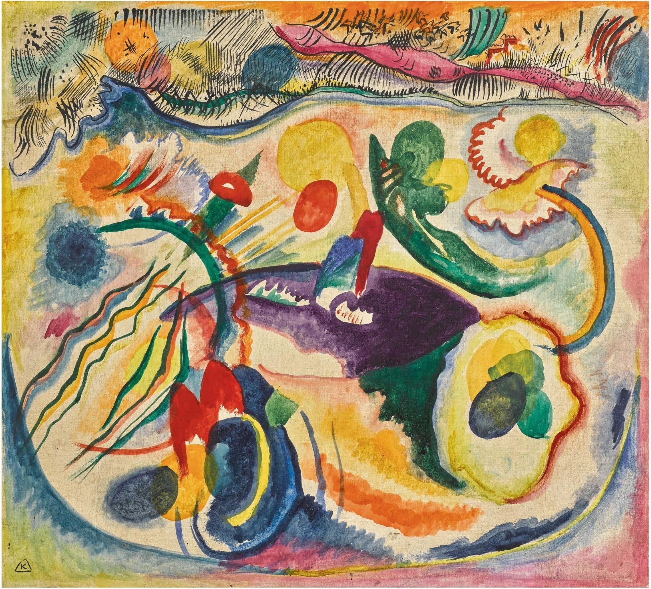 Wassily Kandinsky (1866-1944) Zum thema jüngstes gericht (1913)