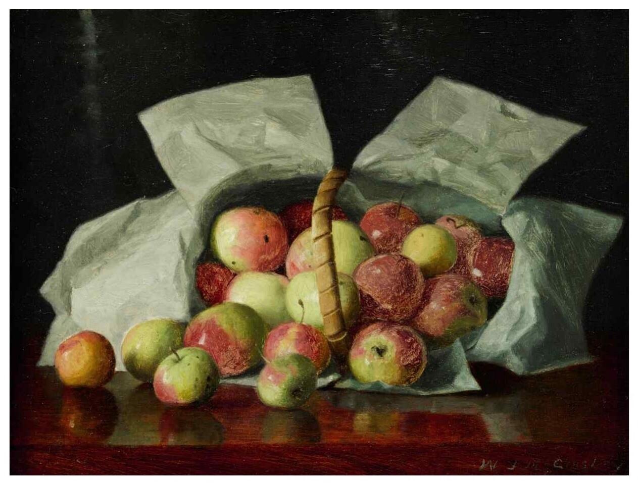 William Joseph McCloskey (1859-1941) Lady apples in overturned basket