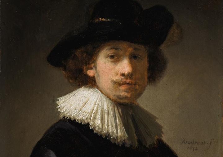 Rembrandt - Autoportrait coiffé d'une collerette et d'un chapeau noir, 1632 (détail)